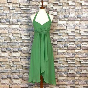 Davids Bridal Halter Crinkle Chiffon Sequins Dress